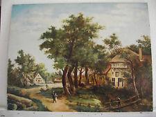 tableau ancien huile sur panneau M RENARD (XXe-s)  - scène animé sous la neige