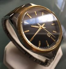 Men's Genuine Citizen Designer Dress Watch Two Tone Rose Gold Black Date Large