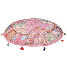 Indian Patchwork ottoman Floor Cushion Cover Embroidered Patchwork Cushions