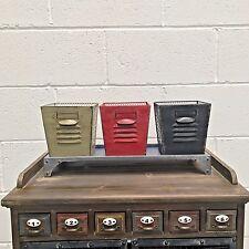3 Cestini in metallo gabbia con vassoio di archiviazione Bagno Vintage Stile Industriale