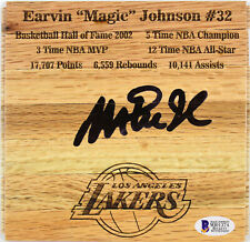 Lakers Magic Johnson Authentic Signed 6x6 Floorboard Autographed BAS Witnessed