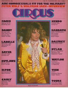 1975 Circus rock music magazine Rod Stewart Black Sabbath Thin Lizzy GOOD