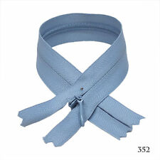 "12 pcs Quality Bkc Invisible Zipper Top Open Bottom Closed 9"" Light Blue #352"