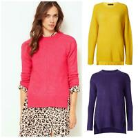 Ex M&S Marks and Spencer Womens Relaxed Fit Crew Neck Jumper Side Splits