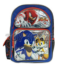 """SONIC THE HEDGEHOG BACKPACK! SILVER FOIL SONIC BOOM LARGE SCHOOL BAG 16"""" NWT"""