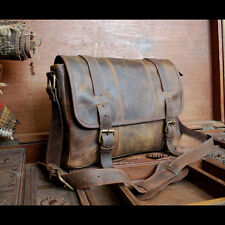 Vintage rugged Genuine Leather messenger Briefcase laptop sachel MENS BAG EDH