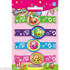 Shopkins Bracelets, Stretch Band Fav 4/Pkg Birthday Party Supplies free shipping