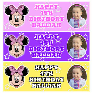MINNIE MOUSE PHOTO Personalised Birthday Banner - Birthday Party Banner - 1x3 Ft