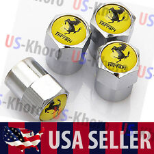 Ferrari Logo Valves Stems Caps Covers Chromed Wheel Roundel Car Tire Emblem USA