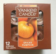YANKEE CANDLE SPICED PUMPKIN TEA LIGHTS BOX OF 12 FAVORITE SCENT