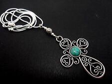 """A LOVELY TIBETAN SILVER CROSS/CRUCIFIX TURQUOISE NECKLACE. 18"""" SNAKE CHAIN"""