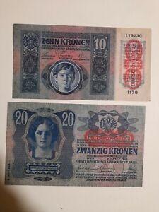 Banconote Ungheria 10 corone 1915 e 20 corone 1913 lotto