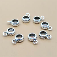 8 Sterling Silver Spiral Bail Beads 925 Silver for Bracelet Spacer Beads