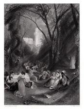 "Amazing 1800s JMW TURNER SIGNED Engraving ""Boccaccio, The Birdcage"" FRAMED COA"