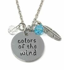 925 Silver Plt 'colors of The Wind' Pocahontas Colours Engraved Necklace 18 D