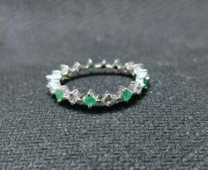 Silver Emerald Stacking Ring Natural emerald ring May Birthstone ring 2 mm Stone
