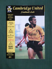 CAMBRIDGE UNITED   V  DERBY COUNTY    - DIV 1 -92/93  - FOOTBALL PROGRAMME