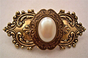 'CULTURA' FAUX PEARL & ANTIQUED BRASS VINTAGE STYLE BARRETTE ~ A BEAUTY!