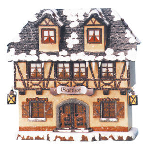 Original Hubrig Volkskunst  Winterkinder - Haus - Gasthof, elektrisch beleuchtet