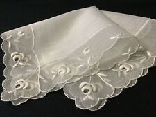 #6384🌟Elegant Premium 1930s Linen & Art Deco Floral Edge Wedding Handkerchief