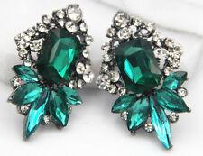 Woman's Green Crystal Rhinestone Silver Plated  Long Ear Stud Hoop earrings Gift