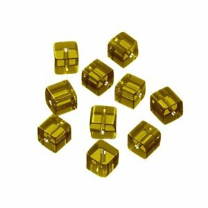 Small 8x8mm Transparent Yellow Glass Cube Beads Pack of 10 (Q100/1)