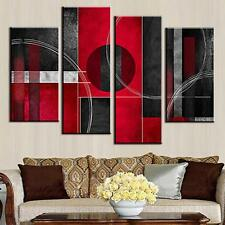 Abstract Canvas Print Art Modern Red Black Circle Wall Painting Home Decor 4Pcs
