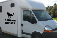 Horse Box Trailer Truck LARGE  Caution Horses ,WINDOW BODYWORK VINYL STICKER/