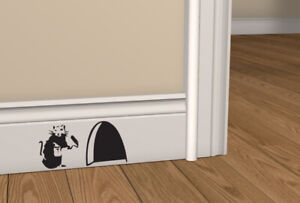 BANKSY RAT Hole Wall Art Sticker Vinyl Decal Mouse Home Skirting Board Removable