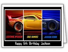 Cars 3 Kids McQueen Cruz Jackson Personalised Birthday Card Any name & Age