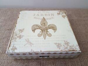 SHABBY FLEUR DE LYS SERVIETTE BOX HOLDER WITH PAPER NAPKINS