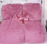 Decke rosa Plüsch Kuscheldecke Decke Tagesdecke Landhaus Vintage Shabby