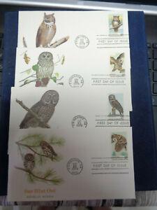 1760-1763 FDC 15c AMERICAN OWLS 4 COVERS FLEETWOOD CACHET U/A