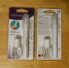 2 set lot NAILENE FRENCH TIP 2 GO 61022 PEARL WHITE french tip pen + topcoat