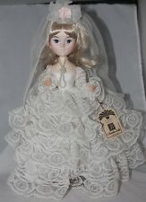 Vintage BRADLEY DOLL Korea BRIDE white lace pearl necklace dress with tag 13""