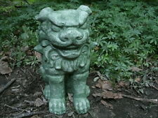 "Cement 9"" Tall Asian Foo Dog Garden Art Green Concrete Statue Oriental Dragon"
