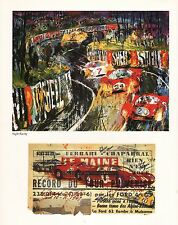 "LEROY NEIMAN  BOOK PLATE PRINT ""NIGHT RACING"" RACE CARS RACE TRACK"