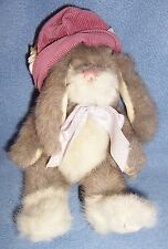 Boyds grey white Easter Bunny plush Mwt toy rabbit Greta de la Fleur hat poseabl
