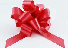 Ribbon Pull Bows 30 x 31mm ribbon width RED Valentine palm sized pompom bows