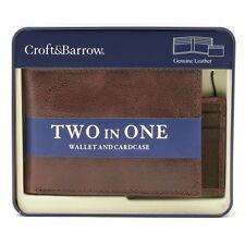 NEW Men's Croft & Barrow Bi-fold WALLET Card Case dark Brown Leather Billfold