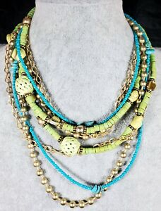 CHICOS Chunky Matte Gold Turquoise Green Multi-strand Layered Beaded Necklace