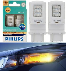 Philips Ultinon LED Light 3157 Amber Orange Two Bulbs Front Turn Signal Stock OE