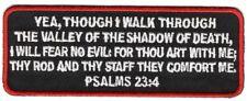 Psalms 23:4 (White) Christian Religious Biker Iron On Patch