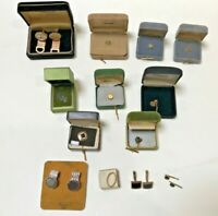 Vintage Mixed Lot Jewelry Cuff Links Tie Tacks Swank Onyx Emerald Stone Engraved