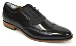 Men's Dress Shoes Wingtip Oxford Black Leather Lace Up STACY ADAMS 25306