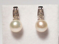 9.4mm white South Sea pearl dangle earrings,diamonds,solid 14k white gold