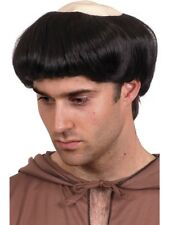 Black Monks Wig with Rubber Scalp Adult Mens Smiffys Fancy Dress Costume