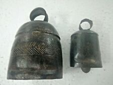 Rare Old Vintage Collectible Iron Hand Carving Cow Camel Goat Ox 2 Bells Lot