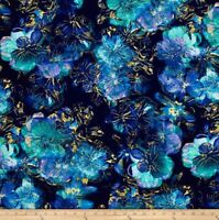 Floral Impressions Photo Navy/Turquoise 100% Cotton  Half Yard 45cm x 110cm