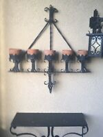 Huge Spanish Revival Wrought Iron Gothic Wall Sconce 5 Light Candle Candelabra